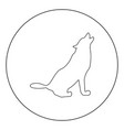 silhouette of the wolf black icon in circle vector image vector image