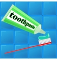 spread toothpaste on the brush vector image