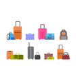 suitcases bags and backpacks set icons vector image