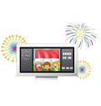 the flag indonesia with three kids inside a vector image