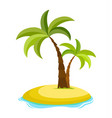 tropical palm on island with sea waves vector image vector image