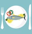 Tuna fish on plate vector image vector image