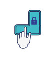unlock pattern with hand vector image