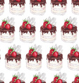 Watercolor Seamless pattern with strawberry cake vector image