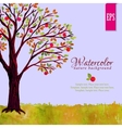 Watercolor tree with apples and grass vector image vector image