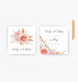 wedding invite card design blush peach flowers vector image