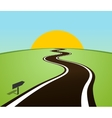 Winding road in the field over the horizon Sun vector image