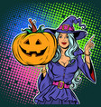 witch with pumpkin halloween party vector image vector image