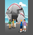 young men coming out from ferry vector image vector image