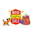 christmas dog sale banner template sale vector image