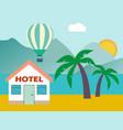 beach house hotel flat scene with house sea vector image