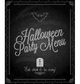 chalkboard halloween party menu vector image