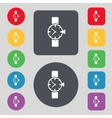 Wrist Watch sign icon Mechanical clock symbol Set vector image
