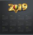 2019 calendar template guinea country map golden vector image vector image
