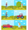 beekeeper and tractor on field vector image vector image