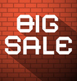 Big Sale Title on Dark Red Bricks Background vector image
