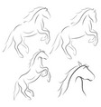 black line horse on white background icon set vector image vector image