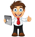Business man thumbs up with tablet vector