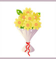 cartoon flower bride icon bouquet design vector image vector image