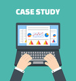 Case study concept with computer device vector image vector image