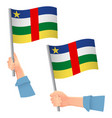 central african republic flag in hand icon vector image vector image