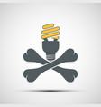 cross bones with energy saving lamp environmental vector image vector image