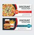 discount voucher fast food template design set of vector image vector image