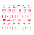 doodle check marks hand drawn lines red pen tick vector image vector image