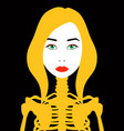 female portrait and skeleton flat art vector image