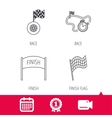 Finish flag race timer and wheel icons vector image vector image