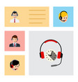 flat hotline set of hotline headphone call vector image vector image
