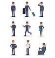 flat set with pilot in different actions vector image vector image