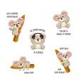 funny koala stickers set vector image vector image