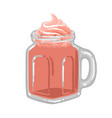 glass square cup milkshake with strawberry vector image vector image