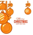 Gold Christmas balls with ribbon and bows vector image
