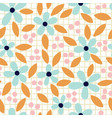 hand drawn floral seamless pattern on grid vector image