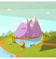 hiking at a lake background vector image