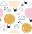 kids hand drawn seamless pattern with balloons vector image