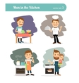 Man cooking in kitchen vector image vector image