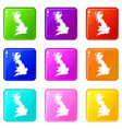 map of great britain icons 9 set vector image vector image