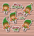 merry christmas with stickers pattern of girl vector image
