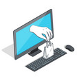 monitor computer and hand with package vector image