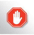 no entry hand sign on transparent background red vector image vector image