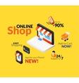 Online shopping logo set vector image