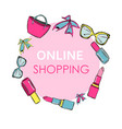 online womn shopping colorful hand drawn vector image