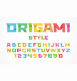 Origami style font alphabet and numbers