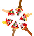 people eating pizza hands holding slice of pie vector image