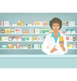 Pharmacist black woman with medicine in pharmacy vector image vector image