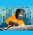 professional welder welds a pipeline vector image
