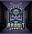 rabbit esport mascot logo design vector image vector image
